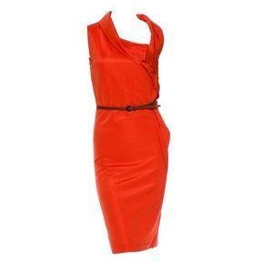 NWT $785 MaxMara Brick Red Knitted Fitted Dress